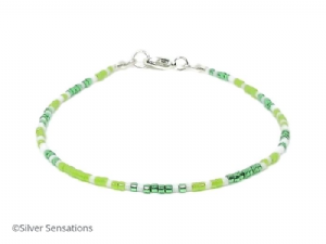 Dainty Bright Green & White Seed Bead Stacking Beach Bracelet